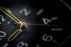 Clock with golden hands